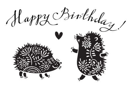 Funny vector illustration with hedgehogs and lettering text - Happy Birthday.