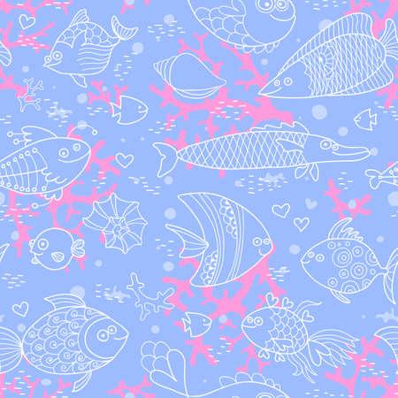 Tło podwodnego świata. Jednolite wzór z cute ryb, muszli, korali. ilustracji wektorowych.