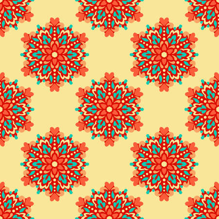 Seamless background with abstract ethnic pattern. Vector illustration. Çizim
