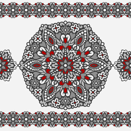 grey pattern: Seamless background with abstract ethnic pattern. Vector illustration. Illustration