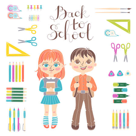 Set of educational elements of school design. Students girl and boy. Stationery. Lettering Back to School. Vector illustration.
