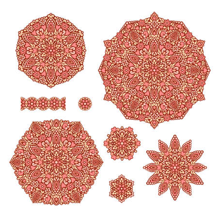 decorative patterns: Abstract Flower Patterns. Decorative ethnic elements for design. illustration.