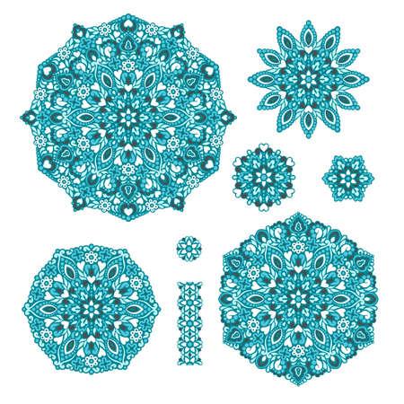 patrones de flores: Dibujos de flores abstractas. elementos étnicos decorativos para el diseño. ilustración.