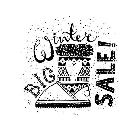 clothing store: Winter Special banner or label with boot. Business seasonal shopping concept big sale. Isolated vector illustration.