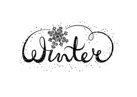 Winter text lettering with snowflake. Seasonal shopping concept to design banners, price or label. Isolated vector illustration. Vektorové ilustrace