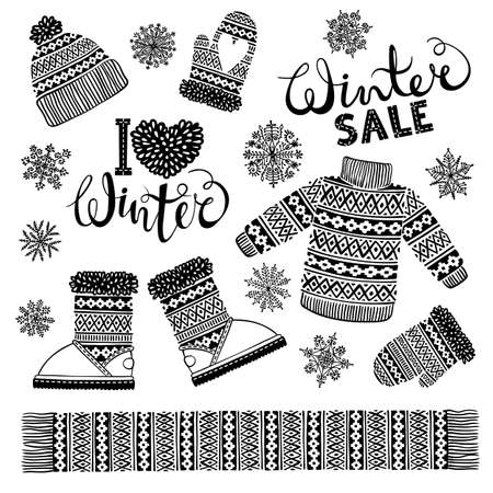 winter clothing: Set drawings knitted woolen clothing and footwear. Sweater, hat, mitten, boot, scarf with patterns, snowflakes. Winter sale shopping concept to design banners, price or label. Isolated vector illustration.
