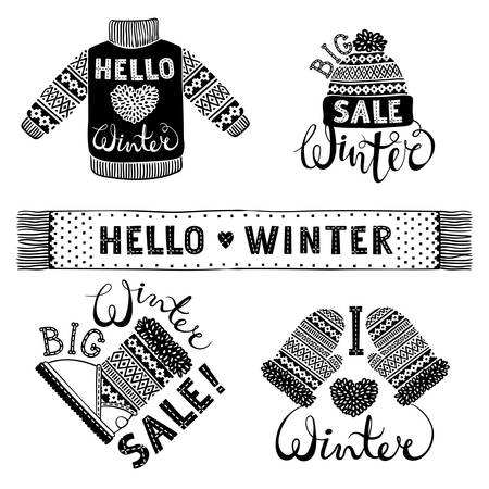Set drawings knitted woolen clothing and footwear. Sweater, hat, mitten, boot, scarf, lettering. Winter sale shopping concept to design banners, price or label. Isolated  illustration.