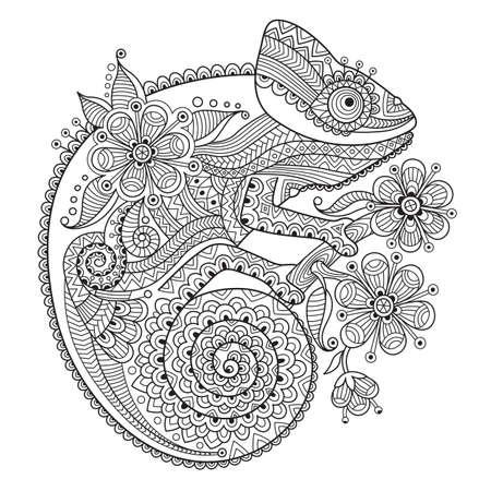 Zwart-witte vectorillustratie met een kameleon in etnische patronen. Het kan gebruikt worden als kleurende antistress voor volwassenen en kinderen. Stockfoto - 66068413