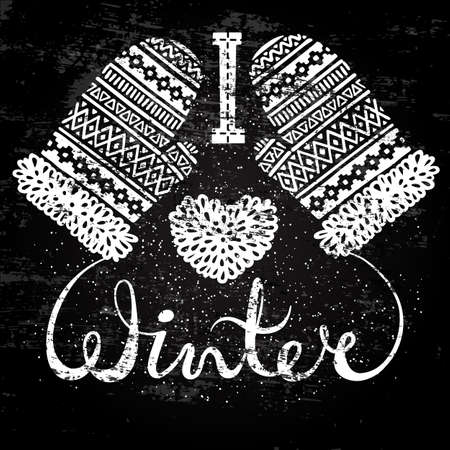 I love winter text and knitted woolen mittens heart. Seasonal shopping concept design for the banner or label. Stylized drawing chalk on blackboard. Isolated vector illustration.