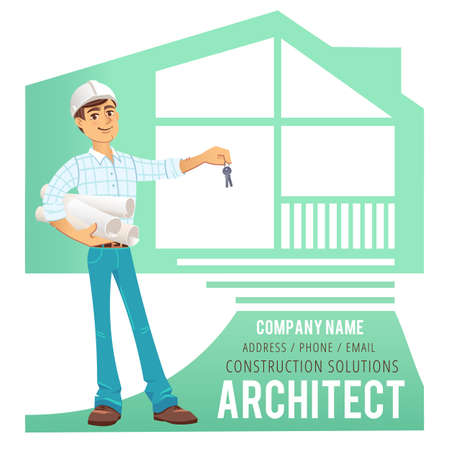 constructed: Architect in helmet with blueprints and keys in hand against background of constructed house, cottage. Character Construction Architect Engineer. Concept for banner, business card. Vector illustration