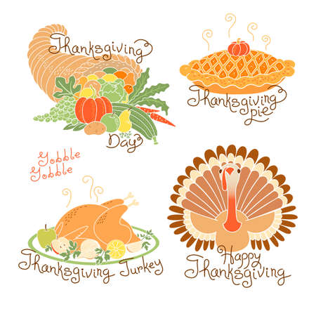 Set Of Color Drawings To Thanksgiving Day. Autumn Harvest ...