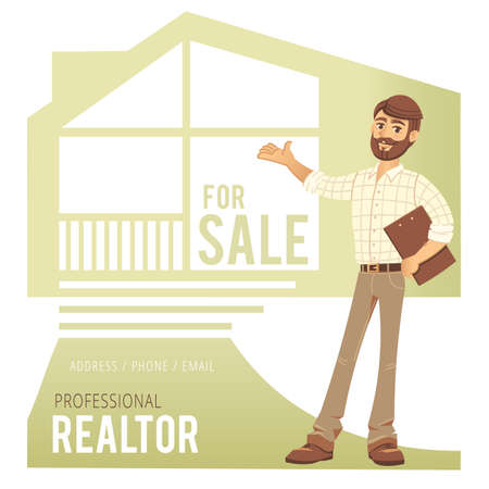 homeowner: Concept of real estate services. Real estate agent showing a house. Character man with folder in hand. For the design of business cards, banners and advertising. Vector illustration.