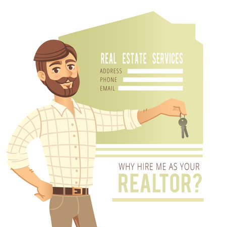real estate agent: The concept of real estate services. Real estate agent showing a house. Character male estate agent with the keys in his hands. For the design of business cards, banners and advertising. Vector illustration.
