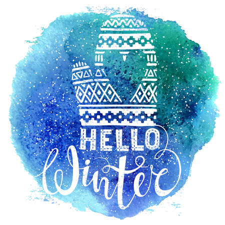 mitten: Hello winter text and knitted woolen mitten with heart on watercolor background. Seasonal shopping concept design for the banner or label. Isolated vector illustration.