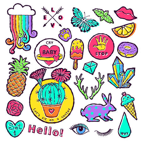 Fashion patch badge elements in cartoon 80s-90s comic style. Set modern trend doodle pop art sketch. Vector clip art illustration isolated.