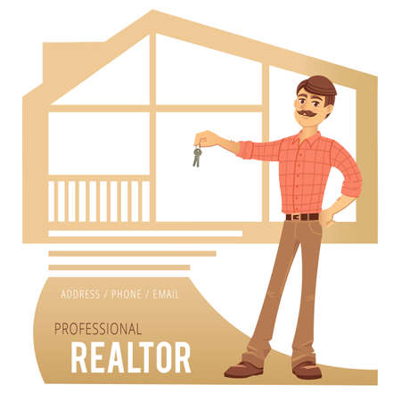homeowner: The concept of real estate services. Real estate agent showing a house. Character male estate agent with the keys in his hands. For the design of business cards, banners and advertising. Vector illustration.