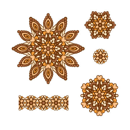 decorative patterns: Abstract Flower Patterns. Decorative ethnic elements for design. Vector illustration. Illustration