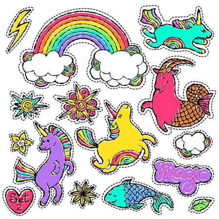Fashion patch badge elements in cartoon 80s-90s comic style. Set modern trend doodle pop art sketch with rainbow unicorns. Vector clip art illustration isolated. Illustration