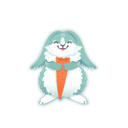 nibble: Rabbit cartoon eating a carrot. Funny bunny. Cute hare. Vector illustration grouped and layered for easy editing
