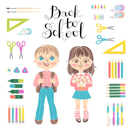 teenagers learning: Set of educational elements of school design. Students girl and boy. Stationery. Lettering Back to School. Vector illustration.