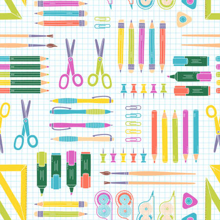 office supply: Vector seamless stationery pattern. School and office background. Vector illustration.