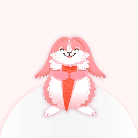 nibble: Rabbit cartoon eating a carrot. Funny bunny. Cute hare. Vector illustration