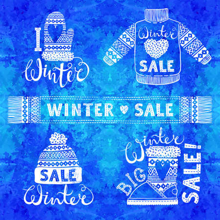 knit: Set drawings knitted woolen clothing and footwear. Sweater, hat, mitten, boot, scarf, lettering. Winter sale shopping concept to design banners, price or label.