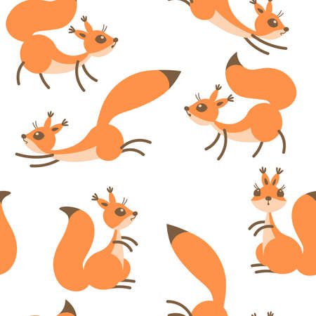 chipmunk: Little cute squirrels. Seamless pattern for gift wrapping, wallpaper, childrens room or clothing.