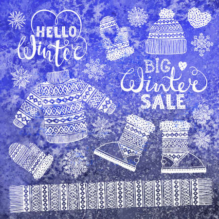 winter clothing: Set drawings knitted woolen clothing and footwear. Sweater, hat, mitten, boot, scarf, lettering. Winter sale shopping concept to design banners, price or label.