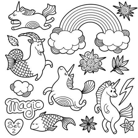 Black and white fashion patch badge elements in cartoon 80s-90s comic style. Set modern trend doodle sketch. Иллюстрация