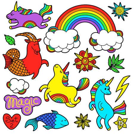 Unicorn fish: Fashion patch badge elements in cartoon 80s-90s comic style. Set modern trend doodle pop art sketch.