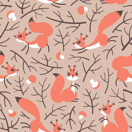 Pequeñas ardillas lindas en el bosque de la caída. Patrón de otoño transparente para envolver regalos, fondos de escritorio, habitación de los niños o la ropa. Foto de archivo - 70821173