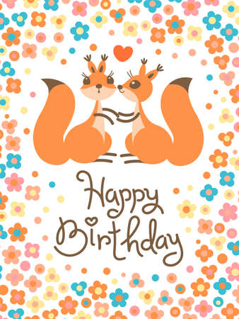 multiple birth: Happy Birthday card with cute squirrels kissing in a cartoon style.