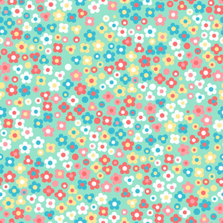 green cute: Floral seamless pattern. Small cute simple flowers. Green background. Illustration