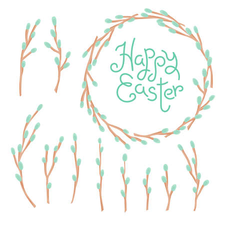 Happy Easter inscription, wreath and set of willow twigs. Illustration