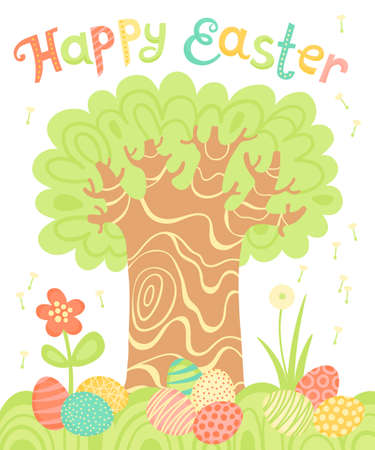 Happy Easter holiday card with a tree and painted eggs.