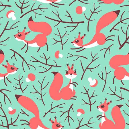 Pequeñas ardillas lindas en el bosque de otoño. Modelo inconsútil del otoño para el envoltorio para regalos, papel pintado, la habitación de los niños o la ropa. Ilustración vectorial Foto de archivo - 76433554