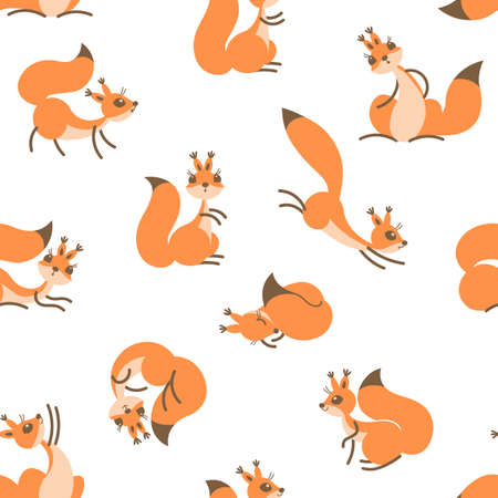 funny baby: Little cute squirrels. Seamless pattern for gift wrapping, wallpaper, childrens room or clothing.