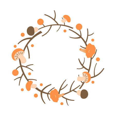 Decorative autumn wreath. Frame made of branches, berries and mushrooms.