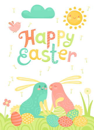 Happy Easter festive postcard with rabbits painted eggs on a meadow. Illustration
