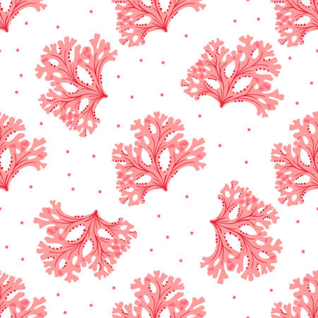 Seamless underwater pattern with red seaweed. Vector wallpaper.
