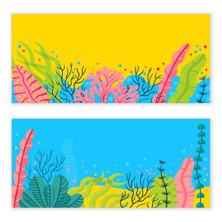 スタイリッシュな海底の背景に海藻、あなたのテキストのための場所。明るいベクトル海洋ライブ バナー。
