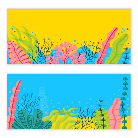 Stylish sea bottom background with seaweeds and place for your text. Bright vector marine live banner.