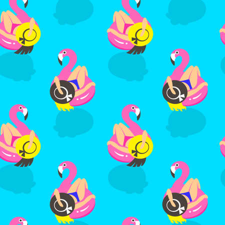 Seamless pattern with girls on an inflatable pink flamingo in summer of swims and rests. Vector illustration.