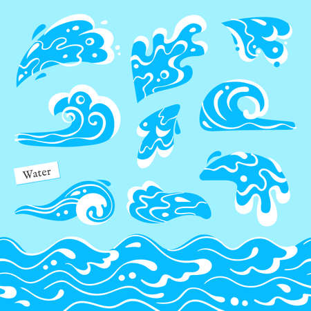 Set of isolated sea or ocean wave, splashes of water and seamless pattern marine stream. Tidal gale shape with foam. Vector illustration.