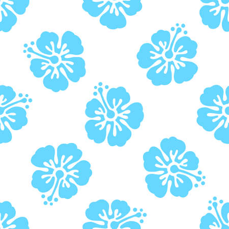 Floral seamless pattern with hibiscus flowers. Vector background. Tropical summer illustration