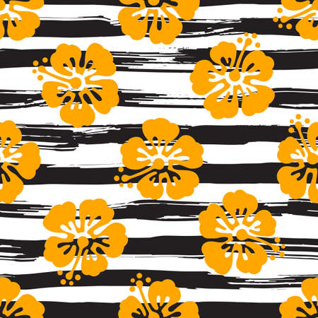 Seamless pattern with hibiscus flowers on striped background. Tropical summer illustration. Vector Illustration