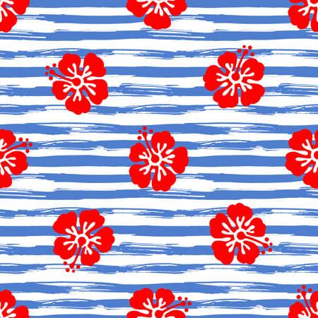 스트라이프 배경에 히 비 스커 스 꽃과 원활한 패턴입니다. 열 대 여름 그림입니다. 벡터.