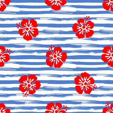 Seamless pattern with hibiscus flowers on striped background. Tropical summer illustration. Vector. Illustration