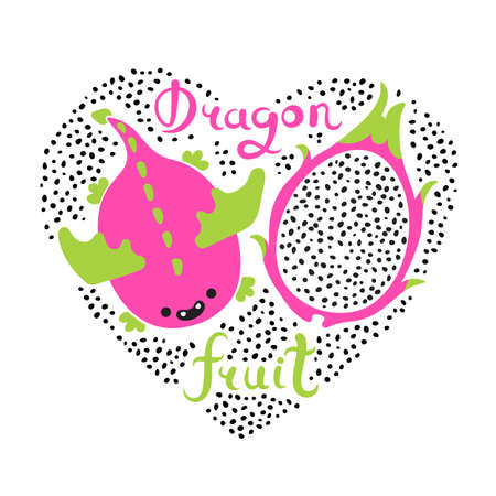 Print with heart and dragon fruit. Vegan food. Summer cute vector illustration